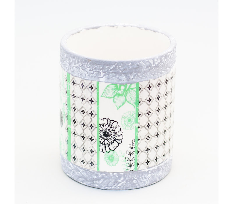 Dolomite Flower Vase With Decal 13x15cm
