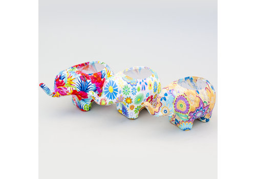 Hill's Imports Colorful Elephant Planter Small