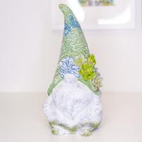 "Succulent Gnome Garden Statuary 14"""