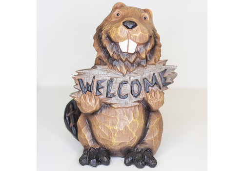 Beaver Holds Welcome Sign