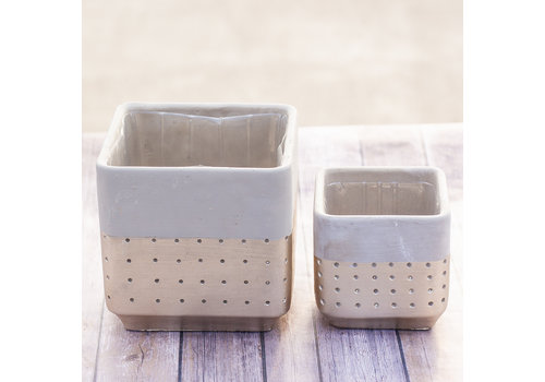 Hill's Imports Gold Dipped Square Cement Pot