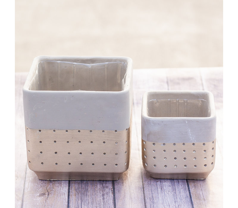Gold Dipped Square Cement Pot