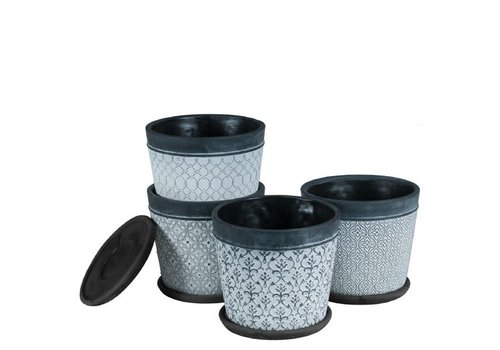 """Hill's Imports Black Wash Round Cement Pot With Saucer 8.5"""""""