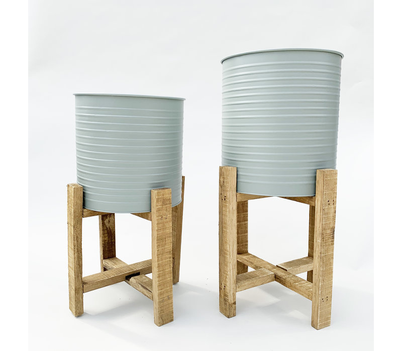 Planter With Wooden Stand