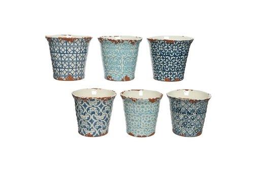 """Kaemingk Terracotta Planter Blue 5.7x5.5"""""""