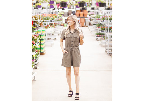 Ripe Clothing Company Khaki Button Up Romper