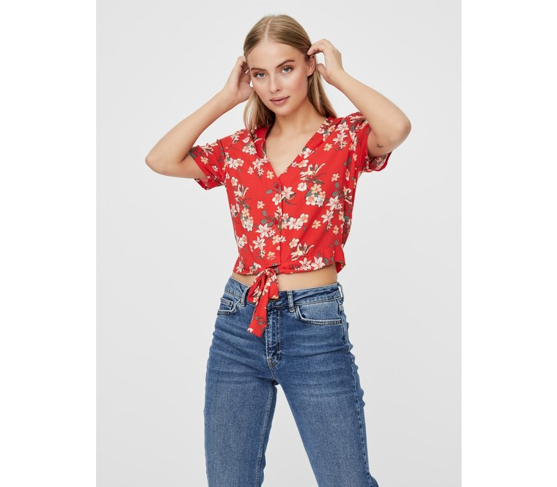 Simply Easy SS Shirt Tie Top