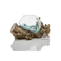Glass Open Bowl On Root