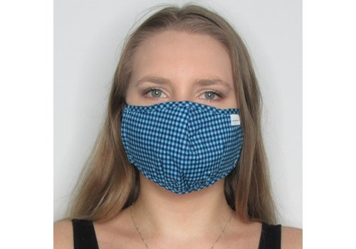 Papillon Blue Check Double Layer Cotton Face Mask