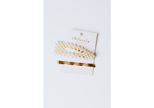 Philocaly Fashionably Late Pin Set Gold and Pearl