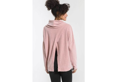 Z Supply Fleece Scallop Back Cowl Neck Top