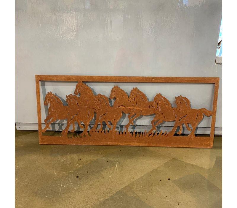 Horse Wall Decor Rust 100x40cm