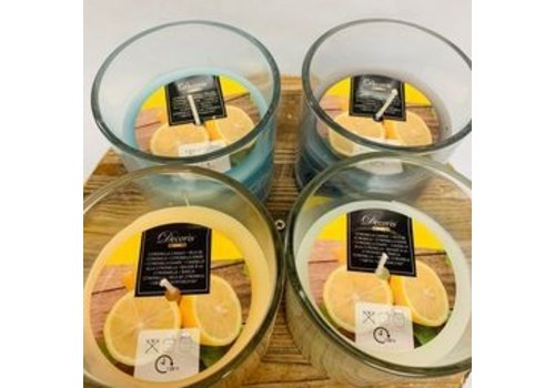 Kaemingk Citron Wax Candle In Glass