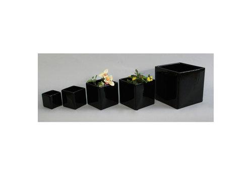 Gloss Cube Ceramic Vase Black