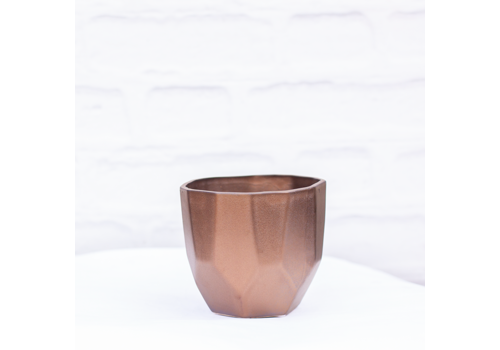 "Geo Ceramic Pot Metallic Bronze 5""x4.5"""