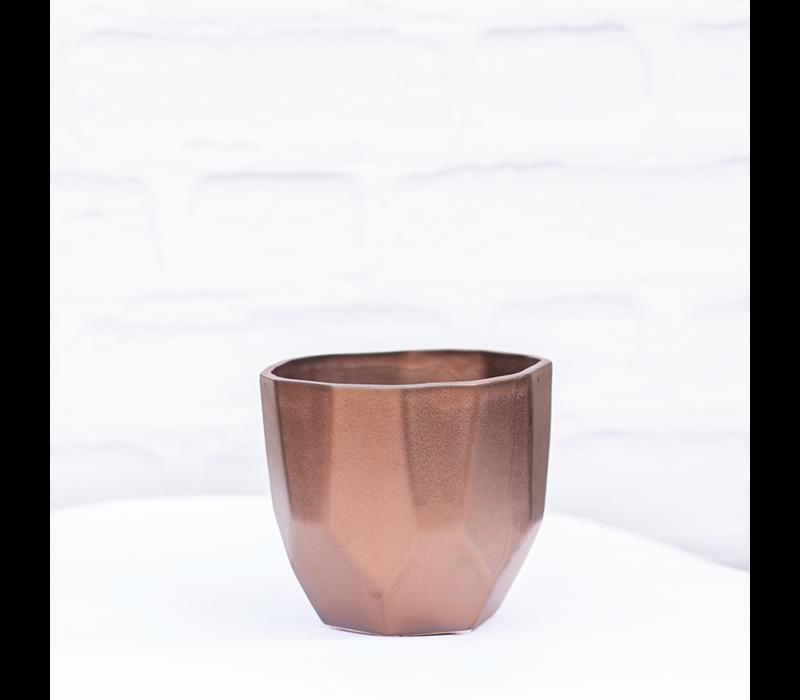 "Geo Ceramic Pot Metallic Bronze 5""x4.5"""
