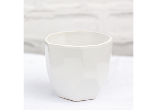 """Glazed Geo Ceramic Pot White 5""""x4.5"""""""
