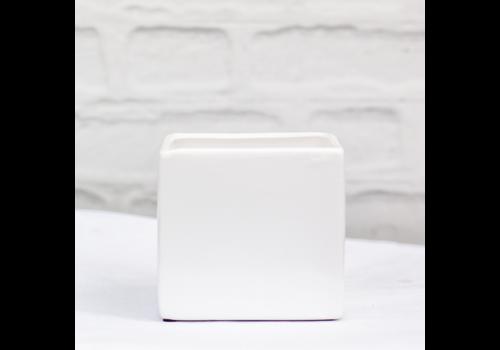 """Dolomite Square Pot White 4.75""""x4.5"""""""