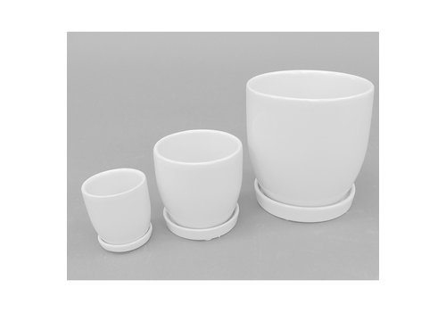 Denai Round Ceramic Vase White