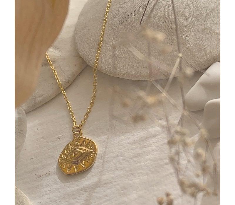 Sheik Evil Eye Pendant Necklace Gold