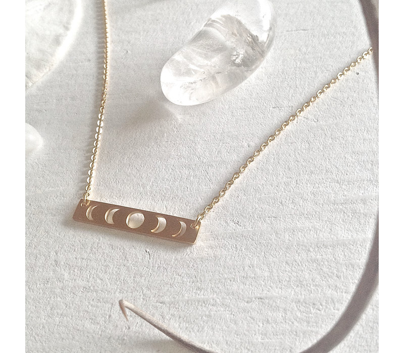 Synodic Moon Phase Charm Necklace Gold