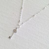 Minerva Tiny Key Charm Necklace