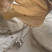 Koons Balloon Dog Necklace Silver