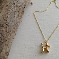 Koons Balloon Dog Necklace Gold