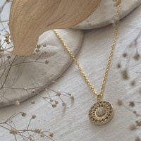 Rose Window Ornate Round Charm with Opal Necklace Gold