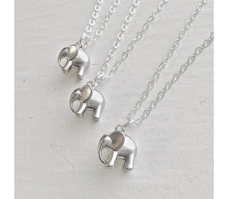 Sheldrick Baby Elephant Charm Necklace Silver