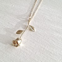 Every Rose Has Its Thorn Rose Charm Necklace