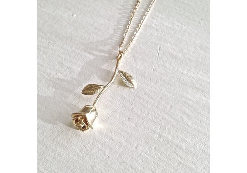 Pika & Bear Every Rose Has Its Thorn Rose Charm Necklace