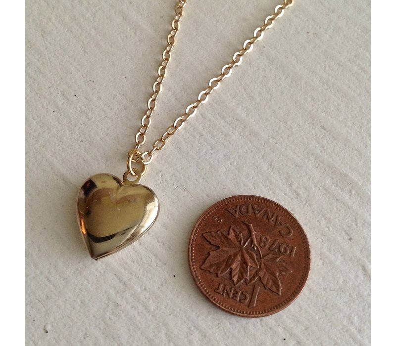 Total Eclipse of the Heart Tiny Heart Shaped Locket Gold