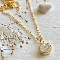 Tenerife Druzy Pendant Necklace Shimmer Crystal White