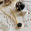 Pika & Bear Tenerife Druzy Pendant Necklace in Black