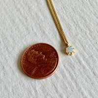 Tiny Dancer Fire Opal Charm Necklace in Vermeil