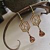Pika & Bear Bonnie Raw Brass Art Deco Drop Earrings Topaz
