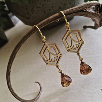 Bonnie Raw Brass Art Deco Drop Earrings Topaz