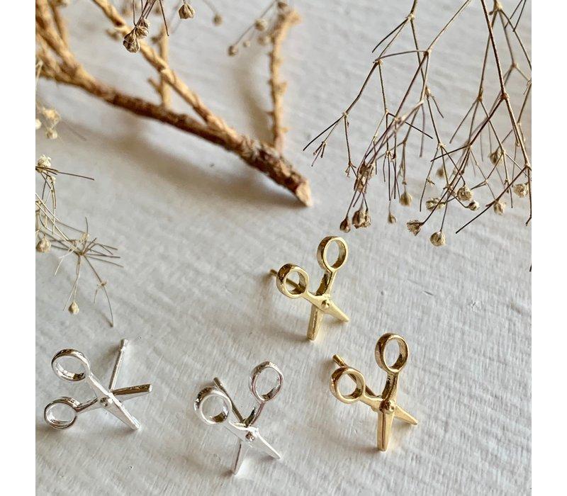 Snips Scissor Stud Earrings Silver