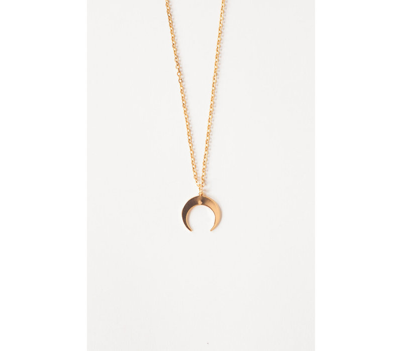 Double Horn Necklace Gold