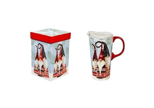Cypress Home Ceramic Travel Cup Winter Gnome 17oz
