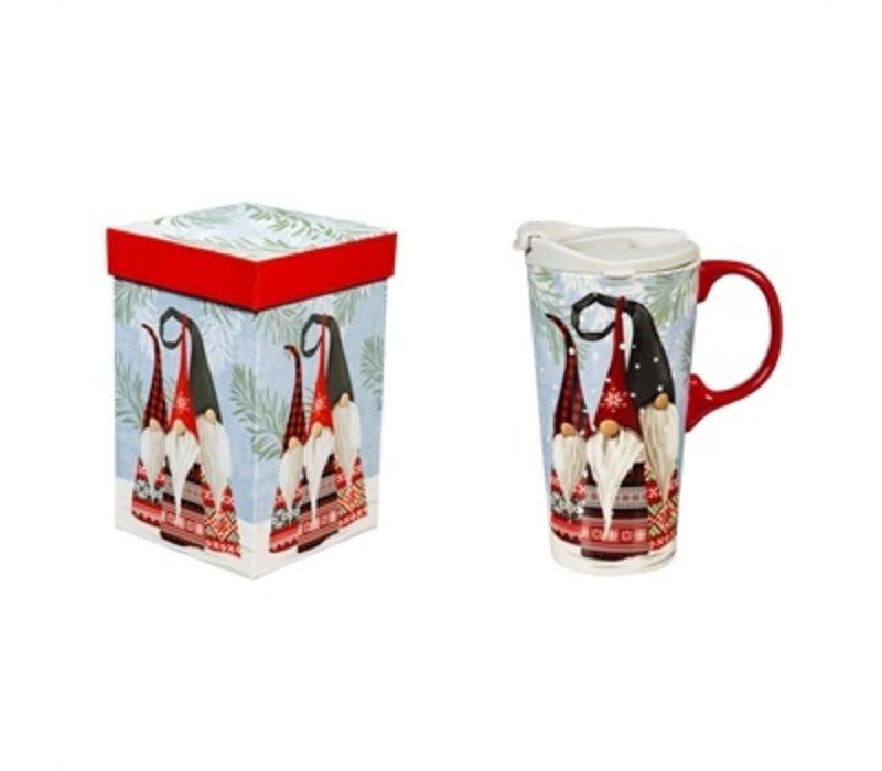 Ceramic Travel Cup Winter Gnome 17oz