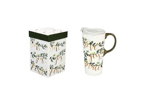 Cypress Home Ceramic Travel Cup Love Joy Peace 17oz