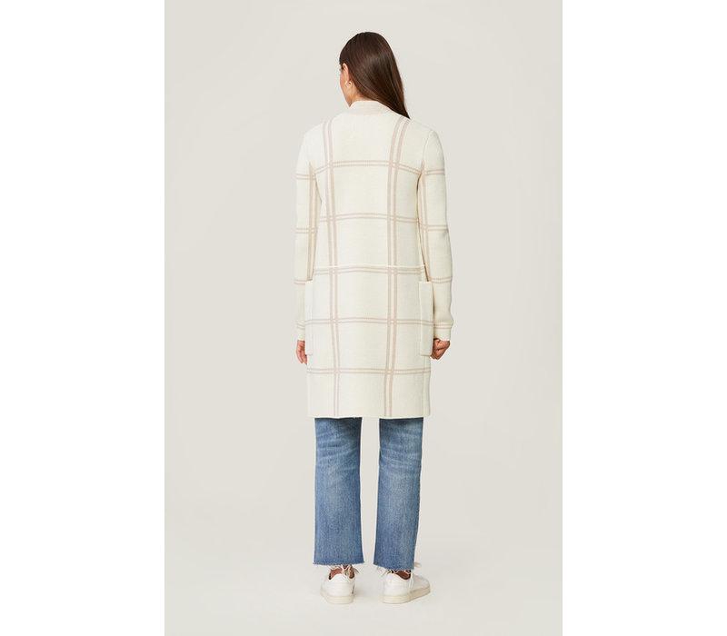 Benela Medium Knit Coatigan Plaid