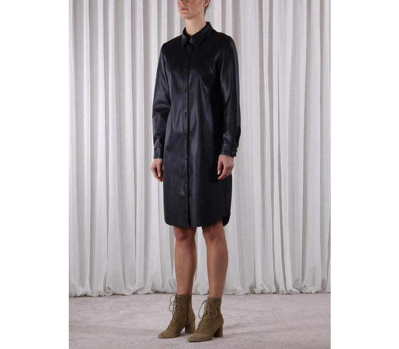 Mitch Faux Leather Blouse Dress