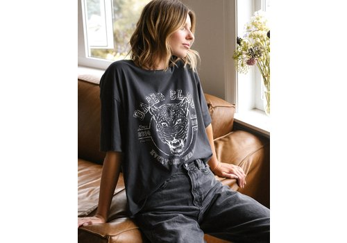 Brunette The Label Leopard Babes Club Boxy Tee