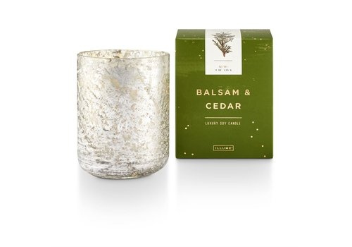 Illume Luxe Sanded Mercury Glass Candle Balsam & Cedar Small