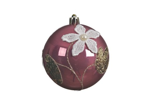 Kaemingk Lace Flower Bauble Velvet Pink