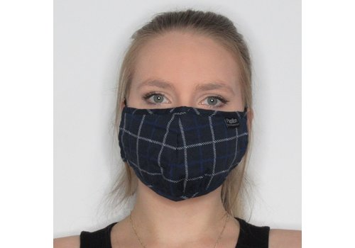 Papillon Plaid Cotton Face Mask Navy