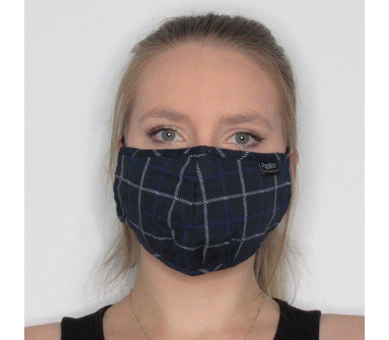 Plaid Cotton Face Mask Navy